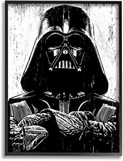 The Stupell Home Décor Collection Black and White Star Wars Darth Vader Distressed Wood Etching 11 x 14 Multi mwp-490_fr_11x14