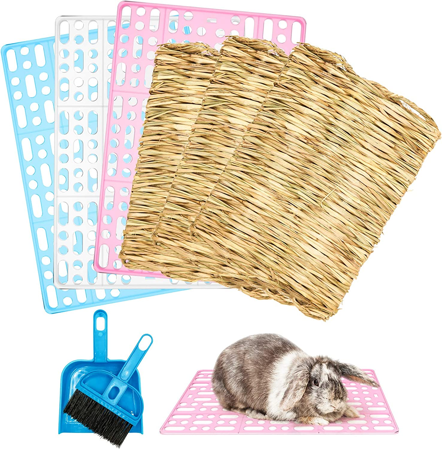 Roundler Bunny Cage Mats, 3 Pieces Rabbit Plastic Floor Pads and 3 Pieces Grass Woven Bed Mats Small Animal Feet Pads Bed Nest Mats for Bunny Hamster Rat Chinchilla Guinea Pig Cats Dogs