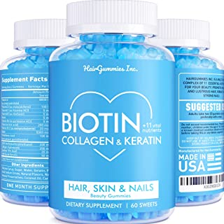 Hair Gummy Vitamins with Biotin, Collagen & Keratin - Hair, Skin and Nail Vitamins - Made in USA - Powerful Nail, Skin & Hair Supplement - Hair Growth for Women & Men - Multivitamin Gummies