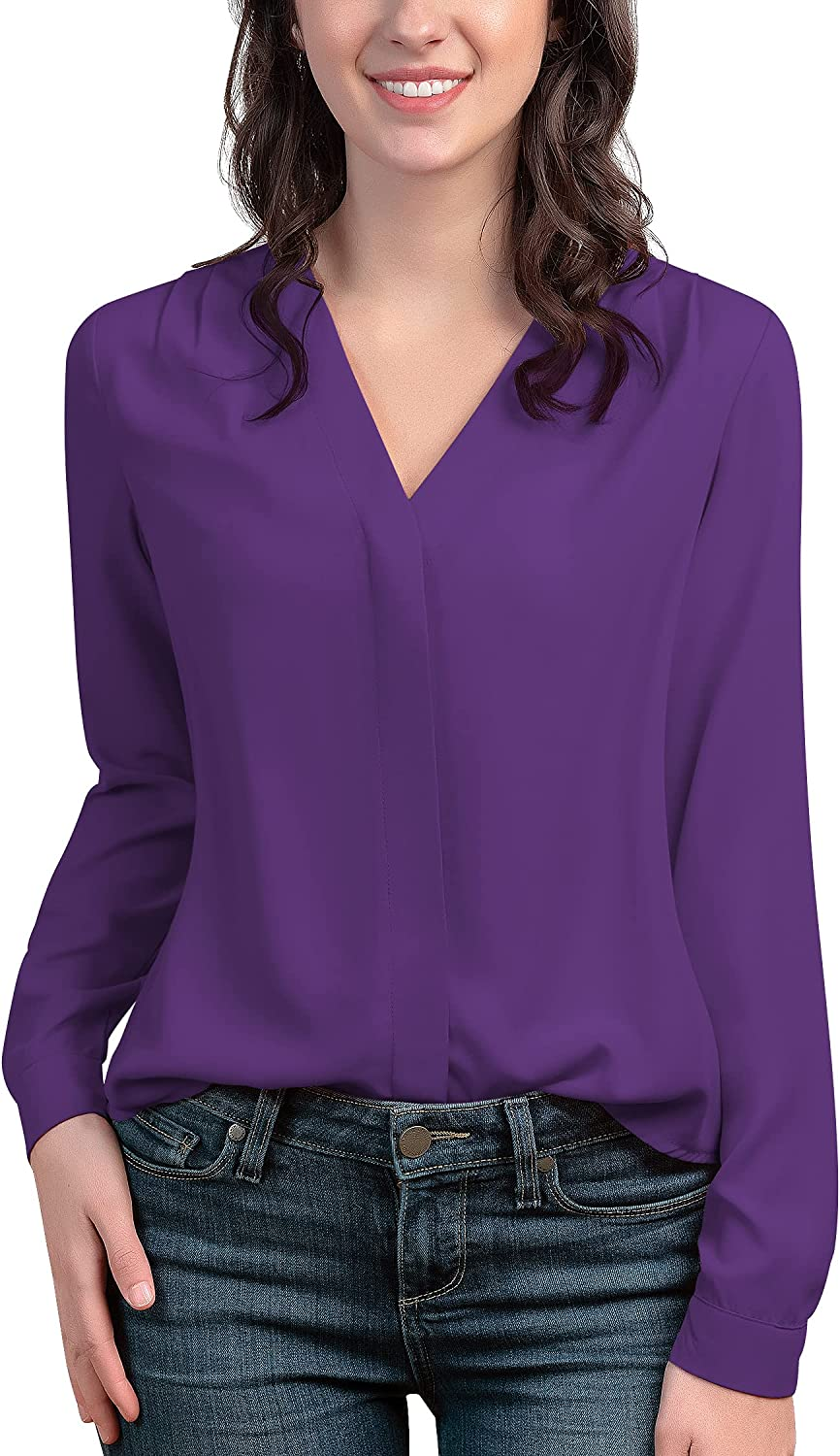 roswear Women's Chiffon price Wrap Max 90% OFF Front Solid Blouse V Neck Shirt