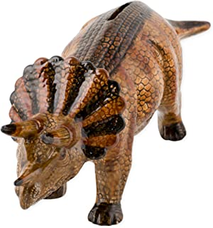 Triceratops Dinosaur Shaped Ceramic Stoneware Hand Painted Coin Bank
