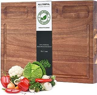Organic Acacia Wood Cutting Board-Reversible Multipurpose Cutting Board For Kitchen-16x11x1 inch Juice Groove & 3 Cracker Holder