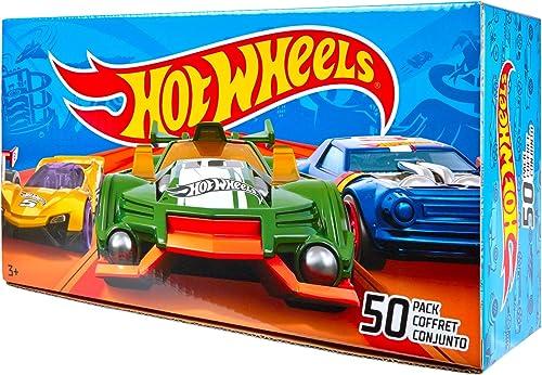 Hot Wtalons Coffret 50 véhicules, jouet pour enfant de petites voitures miniatures, modèle aléatoire, V6697