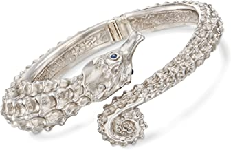Ross-Simons Italian Sterling Silver Seahorse Bypass Bangle Bracelet With Sapphire Accents