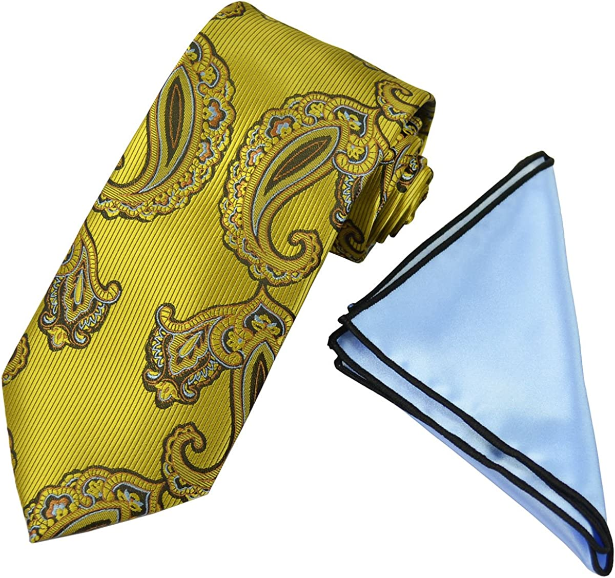 Gold Paisley Men's Tie with Contrast Rolled Pocket Square Set