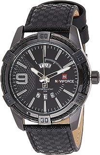 ساعة انالوج كلاسيكية بمينا سوداء وسوار من الستانلس ستيل للرجال من نافي فورس - NF9117L-BB