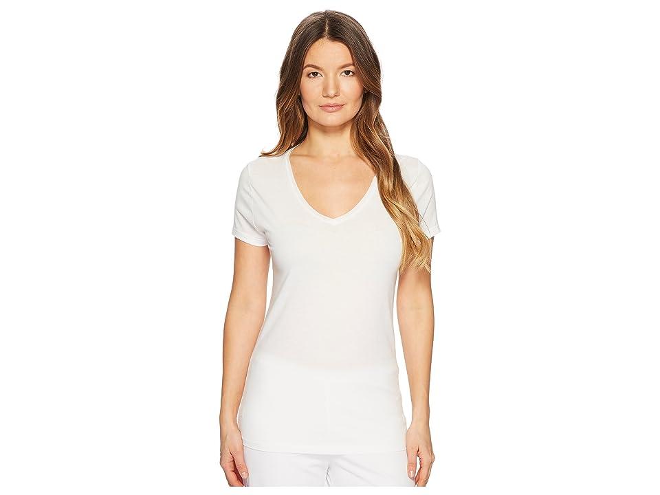 Skin V-Neck Easy Tee (White) Women