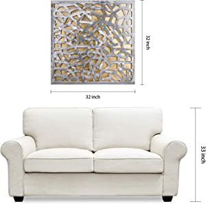 "Empire Art Direct Enigma Polished Steel Sculpture Abstract Wall Art Leaf 3D Metallic Artwork,Ready to Hang,Living Room, Bedroom & Office, 32"" x 0.98"" x 32"", Gold, Silver"