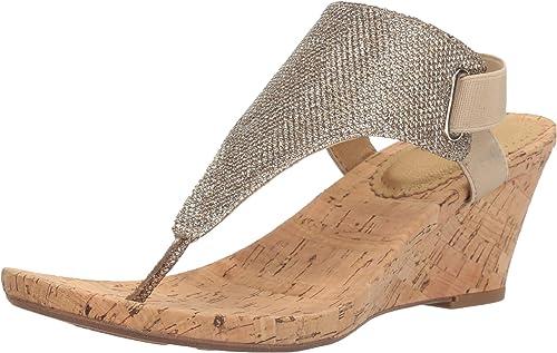 blanc MOUNTAIN Wohommes All Good Wedge Sandal, Light or Glitter, 11 M US