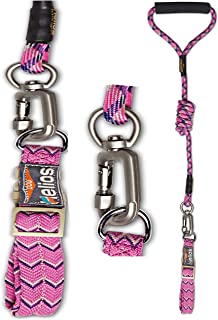 DOGHELIOS 'Dura-Tough' Easy Tension 3M Reflective Adjustable Multi-swivel Pet Dog Leash and Collar, Medium, Pink