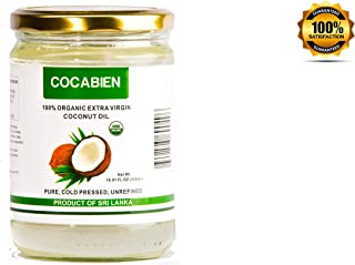 Cocabien Premium 100 Raw Pure Organic Coconut Oil, Extra Virgin, Unrefined, MCT Cold Pressed, Kosher Aceite For Hair, Skin and Cooking Non GMO, Gluten-Free, Glass Jar - 16.9 Ounce