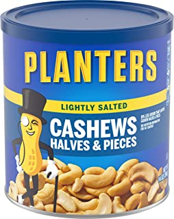 PLANTERS Lightly Salted Cashew Halves & Pieces, 14 oz Canisters (Pack of 3) - Cashews Roasted in Peanut Oil with Sea Salt ...