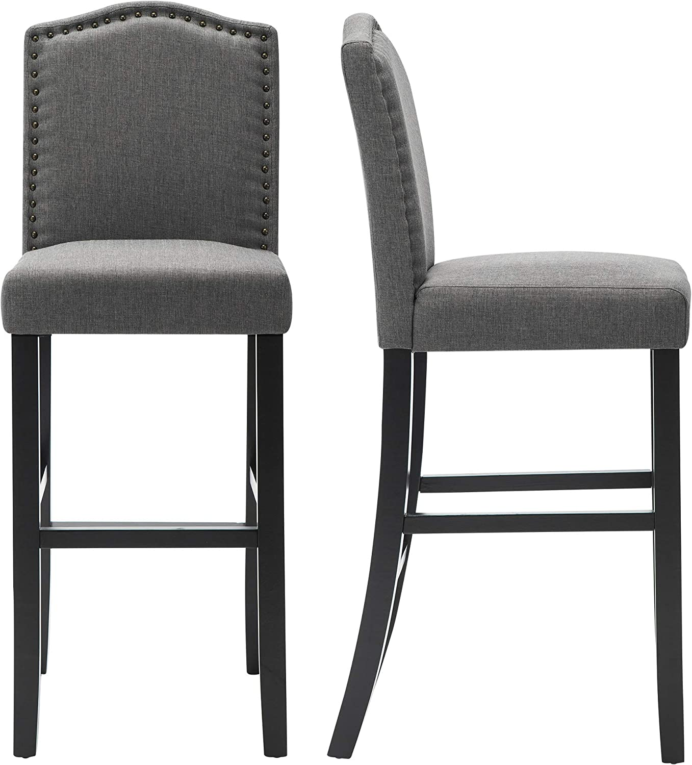 LSSBOUGHT Nailhead Barstools with Solid At the price Wood Set Gre Legs of 2021 autumn and winter new 2