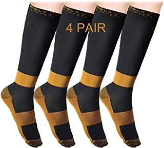 MELERIO Copper Compression Socks Men Women for Edema,Varicose Veins,Travel (4 PAIRS)