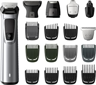 Philips Multigroom Series 7000 18-in-1 Face, Hair and Body Showerproof Trimmer/Clipper with DualCut Technology and 5 hour runtime, Black/Silver, MG7770/15
