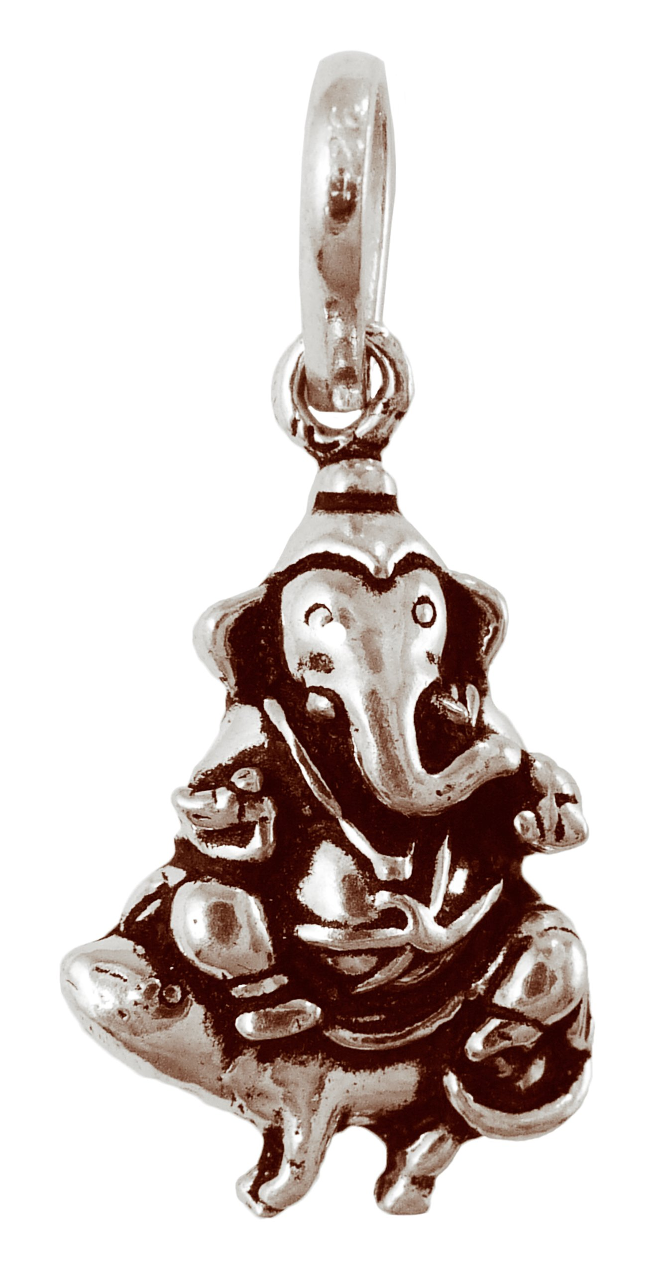 "Braja Ganesh Pendant Elaborate Sterling Silver 1"" Length"