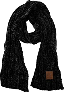 Women's Ultra Soft Chenille Ribbed Thick Warm Knit Shawl Wrap Scarf