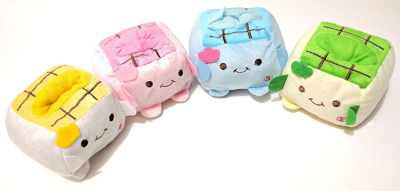 Tofu Cell Phone Plush Set Pink bluee Yellow Green
