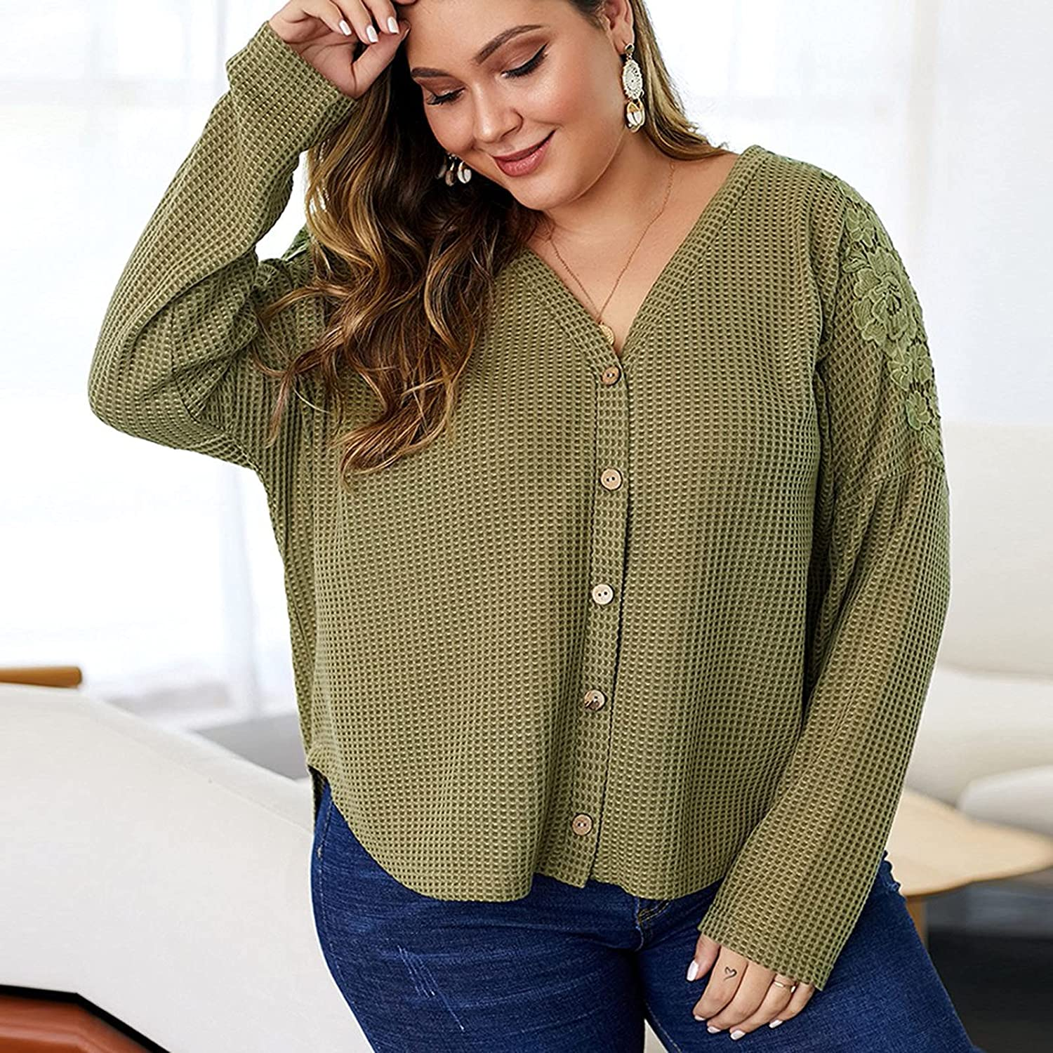 Plus Size Women Tops Waffled Knot Button Down Long Sleeve V-Neck Oversize Sexy Daily Pullover Sweatshirts