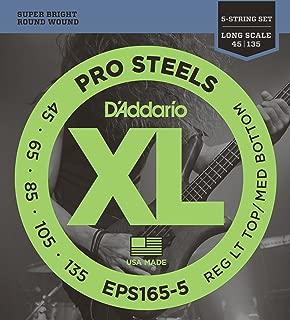 D'Addario EPS165-5 5-String ProSteels Bass Guitar Strings, Custom Light, 45-135, Long Scale