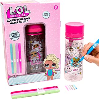 L.O.L. Surprise Color Your Own Water Bottle By Horizon Group Usa,DIY Bottle Coloring Craft Kit, BPA Free, Decorate Your Gl...