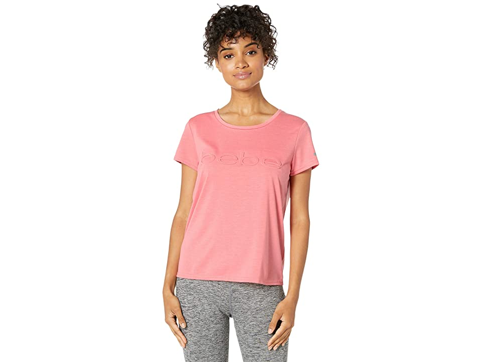 Bebe Sport Slash T-Shirt w/ Emboss Logo (Coral Rose) Women