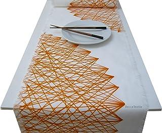 Camino de mesa dibujo geométrico calabaza,Manteles de diseño moderno para la mesa, BeccaTextile.