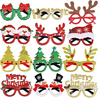 Max Fun 12 Pieces Christmas Glitter Party Glasses Frames with 12 Designs for Christmas Parties, Holiday Favors, Photo Booth (One Size Fits All)