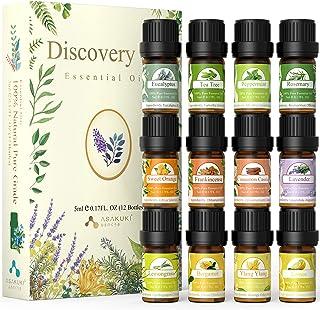 ASAKUKI Kit Huile Essentielle Premium 12x5ml, Huiles Essentielles Aromathérapie, 100% Pures et Naturelles, Aroma Huile Ess...