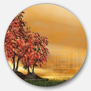 Designart Bonsai Landscape Photography Metal Artwork - Disc of 11 inch, 11'' H x 11'' W x 1'' D 1P, Red