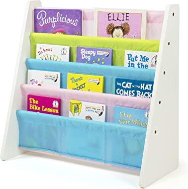 Tot Tutors Kids' Book Rack, White/Pastel (Pastel Collection) (WO594)