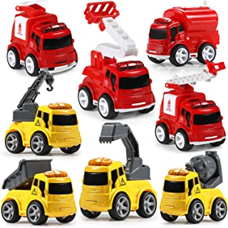 Fire Construction Trucks Toys, GEYIIE Engineering Construction Vehicles Fire Engine Trucks Toys, Cartoon Pull Back and Go Car Play Mats for Kids, Boys, Girls, Toddler, Children, Excavator, Bulldozer,
