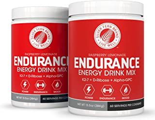 Silver Fern Brand Endurance - Pre Workout Energy Drink Mix Supplement Powder - Raspberry Lemonade - 2 Tubs = 120 Svgs - Boost Power, Energy & Mood - with D-Ribose, Alpha-GPC, Vitamin K2-7 & More