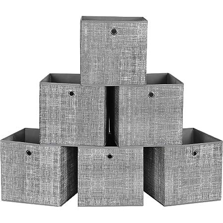 SONGMICS Boîtes de rangement pliables, lot de 6, Cubes, Bacs, Paniers, Coffres, en tissu non-tissé, 30 x 30 x 30 cm, pour jouets, vêtements, Gris Chiné RFB02LG-3