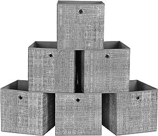 SONGMICS Boîtes de Rangement Pliables, Lot de 6, Cubes, Bacs, Paniers, Coffres, en Tissu Non-tissé, 30 x 30 x 30 cm, pour ...