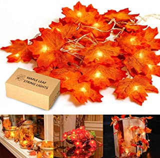 Christmas Decorations, MiMoo Maple Leaf String Lights, 20LED 7.2ft Battery Powered Harvest Fall Garlands String Light