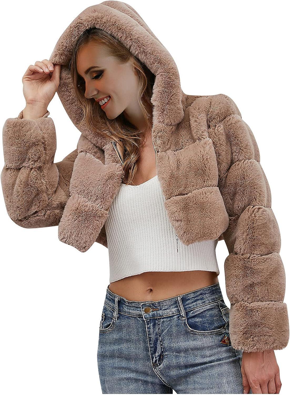 Women Crop Furry Faux Jacket Winter Warm Fleece Coat Long Sleeve Hoodie Outerwear Loose Fit Full Zipper Up Jacket
