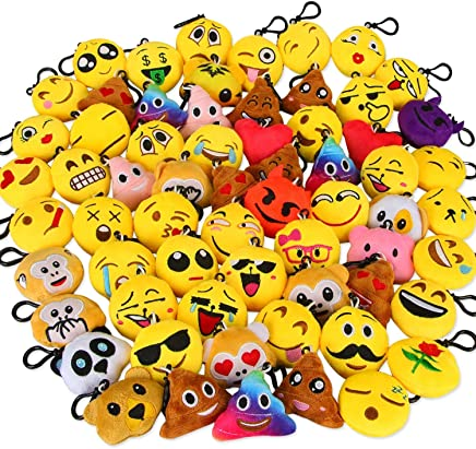 Dreampark Emoji Keychain Mini Cute Plush Pillows, Key Chain Kids Supplies, Party Favors for Kids Easter Eggs Fillers (64 Pack)