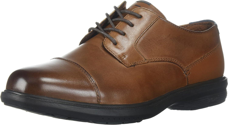 Nunn Bush Men's Maretto Cap Toe Oxford with KORE Slip Resistant Comfort Technology, Tan, 8.5 Wide