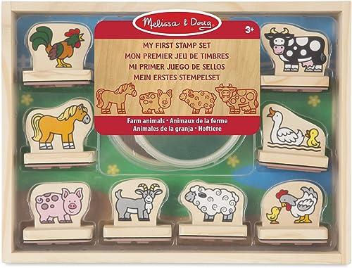Melissa & Doug  Mes premiers tampons  Animaux de la ferme  Tampons pour enfants   Jeu de timbres en bois