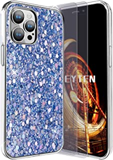 Feyten Funda para iPhone 12 Pro MAX con 2-Unidades Cristal Vidrio Templado,Purpurina TPU Silicona Suave con Brillante Prot...