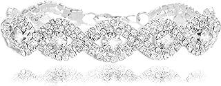 Clear Rhinestone Bracelet Silver-Tone Wedding Bridal Bracelet Crystal Bracelet