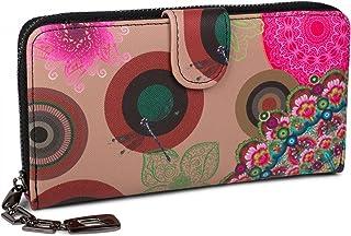 styleBREAKER Monedero con Motivo de Flores étnicas y floración, diseño Vintage, Cremallera, Mujeres 02040040, Color:Beige-...