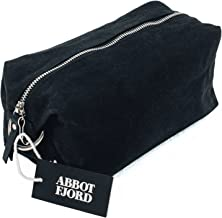 Dopp Kit by Abbot Fjord - Mens and Womens Water-Resistant Waxed Canvas Toiletry Bag for Travel - Durable and Adjustable (Black)
