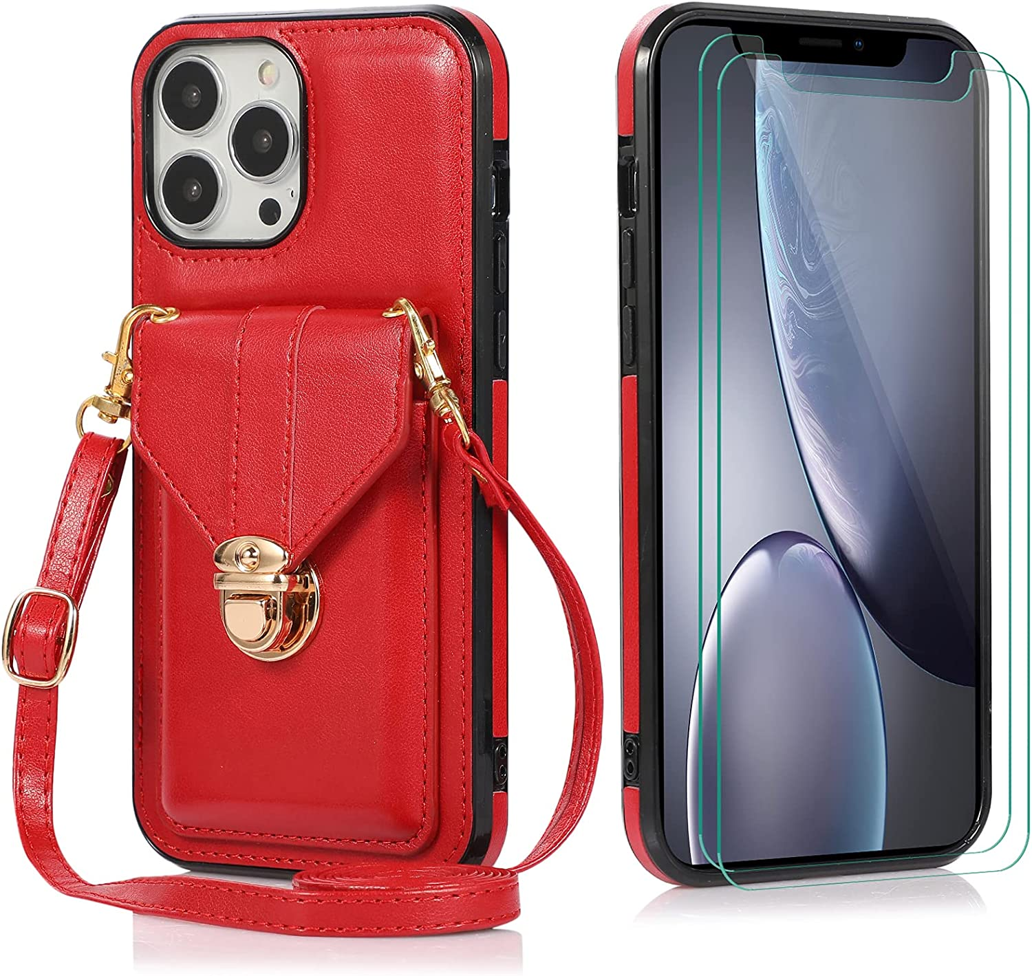 Futanwei Crossbody Slim Wallet Cases Compatible for iPhone 13 Pro Case with [2 Pack] Tempered Glass Screen Protector, Luxury Women's Card Holder Case with Crossbody Strap Lanyard, Red