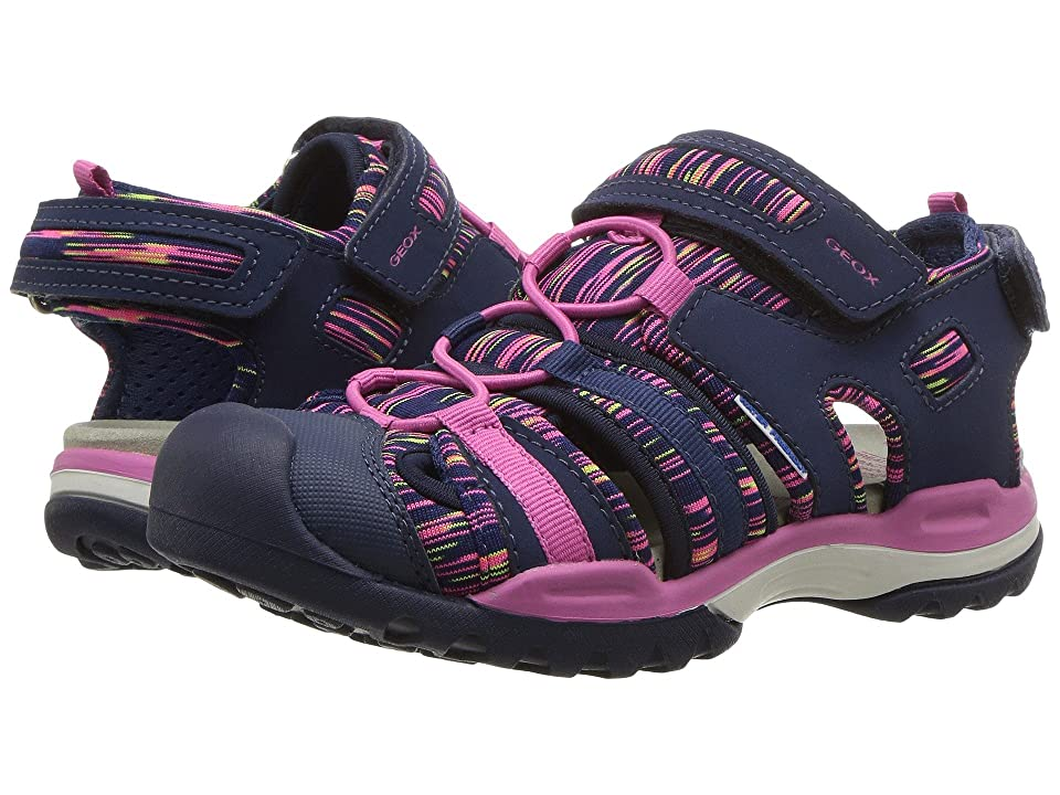Geox Kids Borealis 8 (Little Kid/Big Kid) (Navy/Fuchsia) Girl