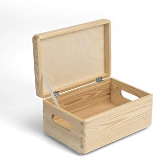 Amazinggirl Caja de Madera con Tapa - Cajas almacenaje para Decorar Pintar decoupage Regalo de Uso múltiple Cofre del Tesoro 30 x 20 x 14 cm