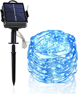 Heaffey Solar String Lights, 40 Feet 120 Led 8 Modes Silver Wire Light, Waterproof Flashing Outdoor Fairy Lighting, for Co...