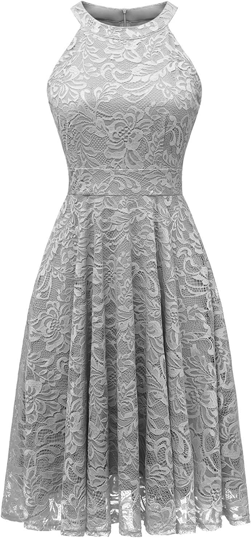 IVNIS Women's Halter Neck Floral Lace Bridesmaid Dress Sleeveless Swing Cocktail Dress