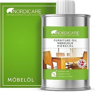 Nordicare Holzöl zur Pflege. Möbelöl farblos für Eiche, Buche, Nussbaum, Lärche. Holzlasur auf Basis von Leinöl. Leinölfirnis 1 Liter